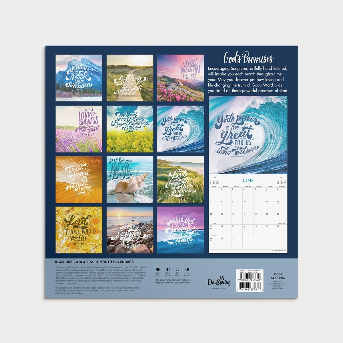 God's Promises - 2020 Wall Calendar  2020 Christian Advent Calendar With Scripture