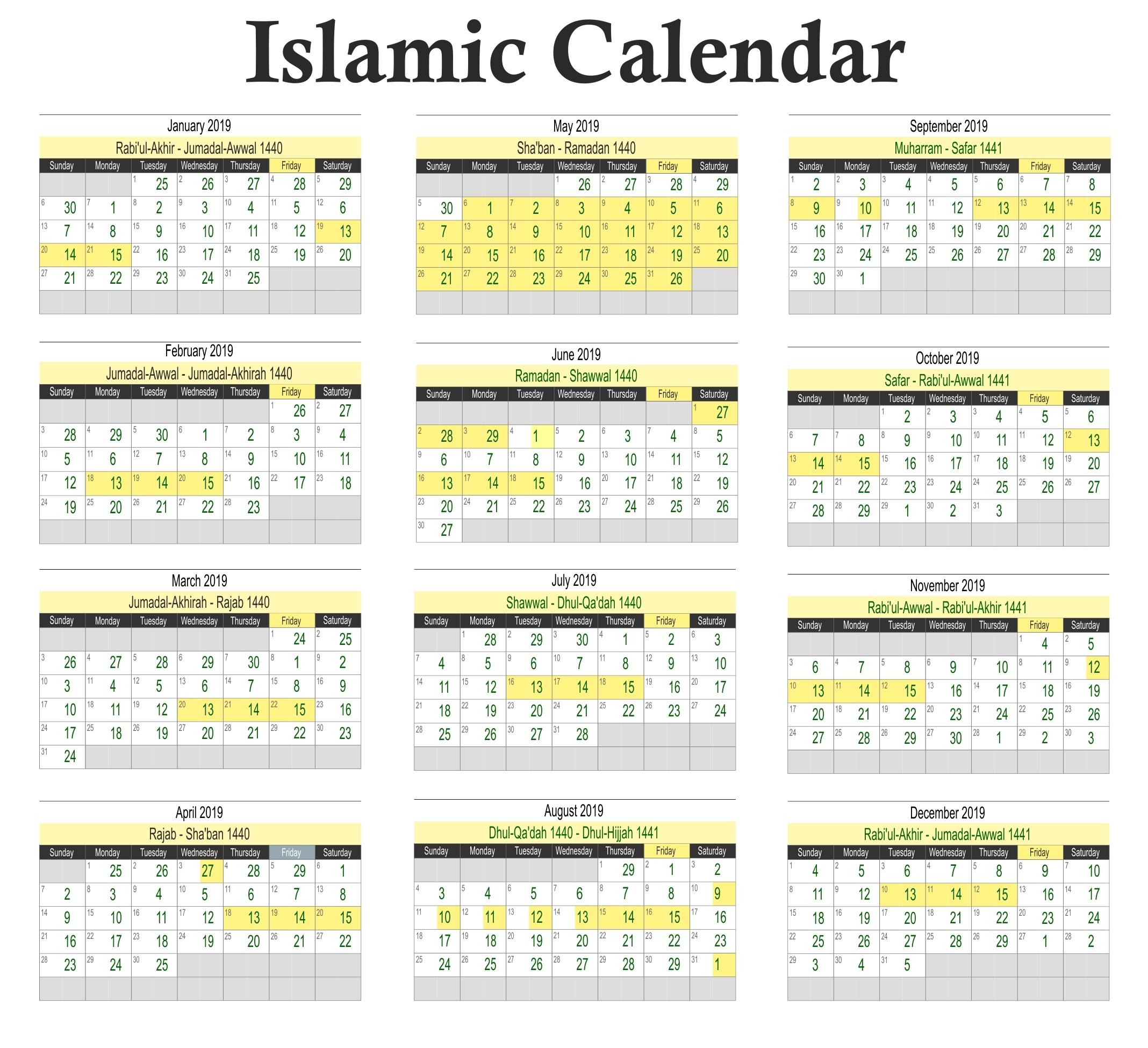 Hijri Calendar 2020 | Exam Calendar  Shia Islamic Calendar 2020