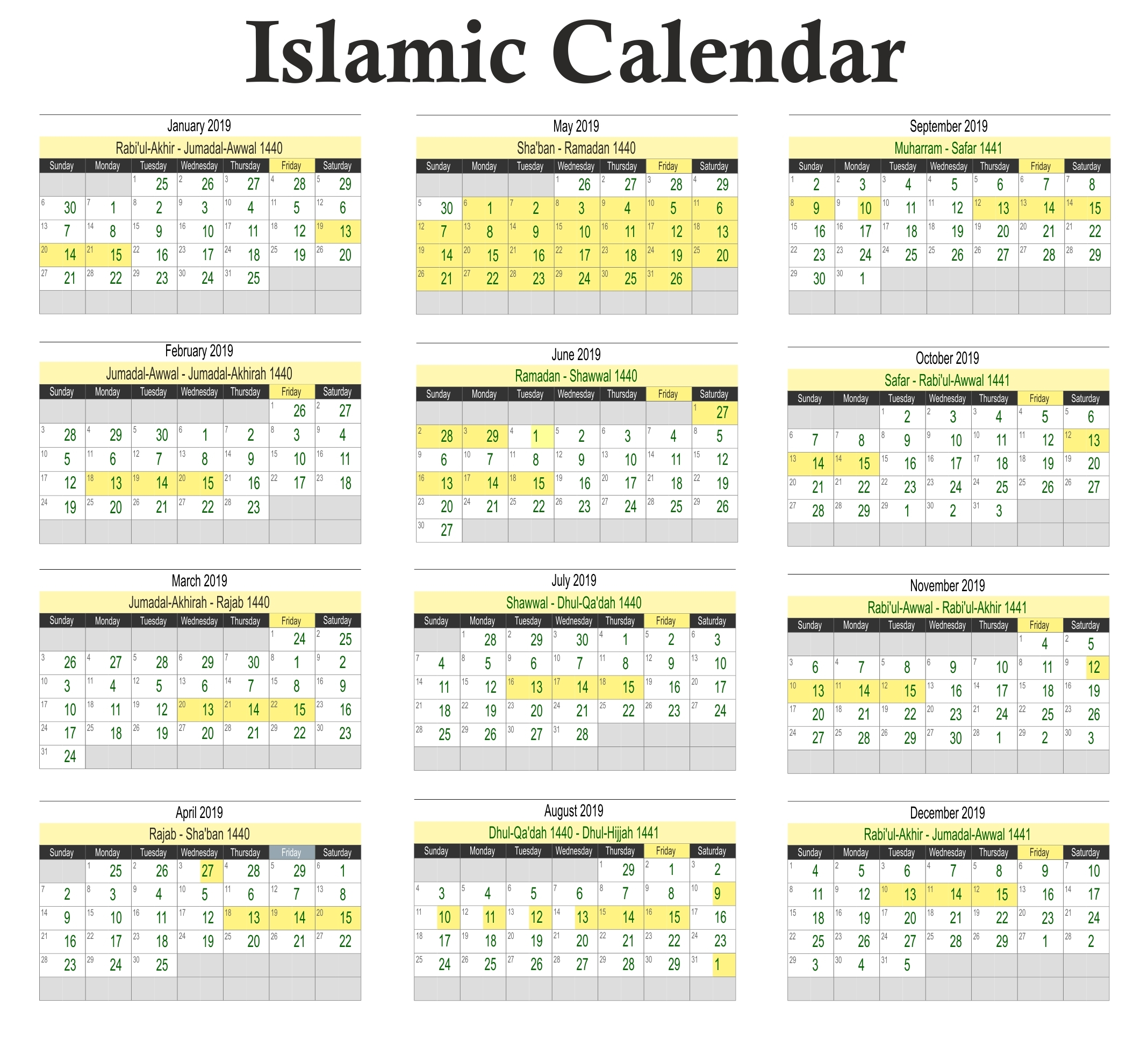 Hijri Calendar 2020 | Exam Calendar  Shia Islamic Hijri Calendar 2020