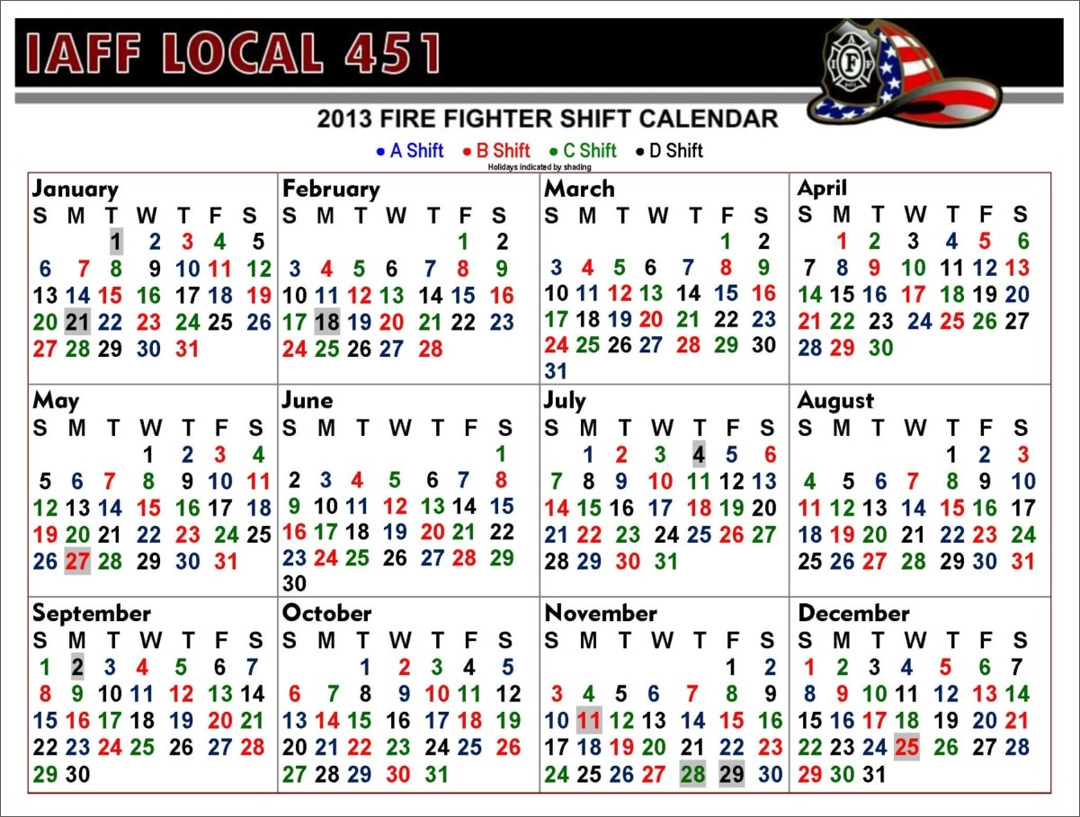 Iaff Local 0451 - Centralia, Washington  Riverside Fire Department Shift Calendar