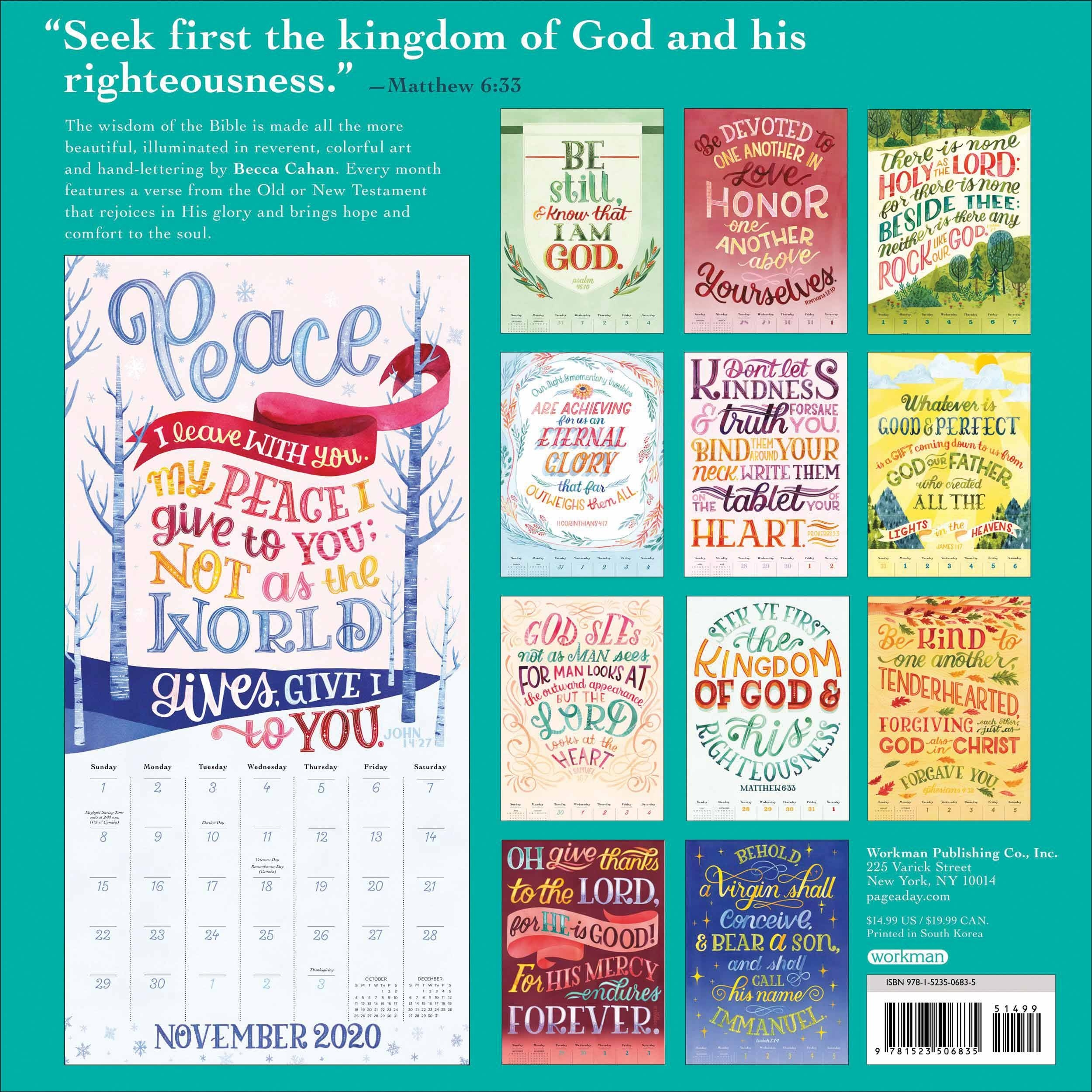 Illustrated Bible Verses Calendar 2020  2020 Christian Advent Calendar With Scripture