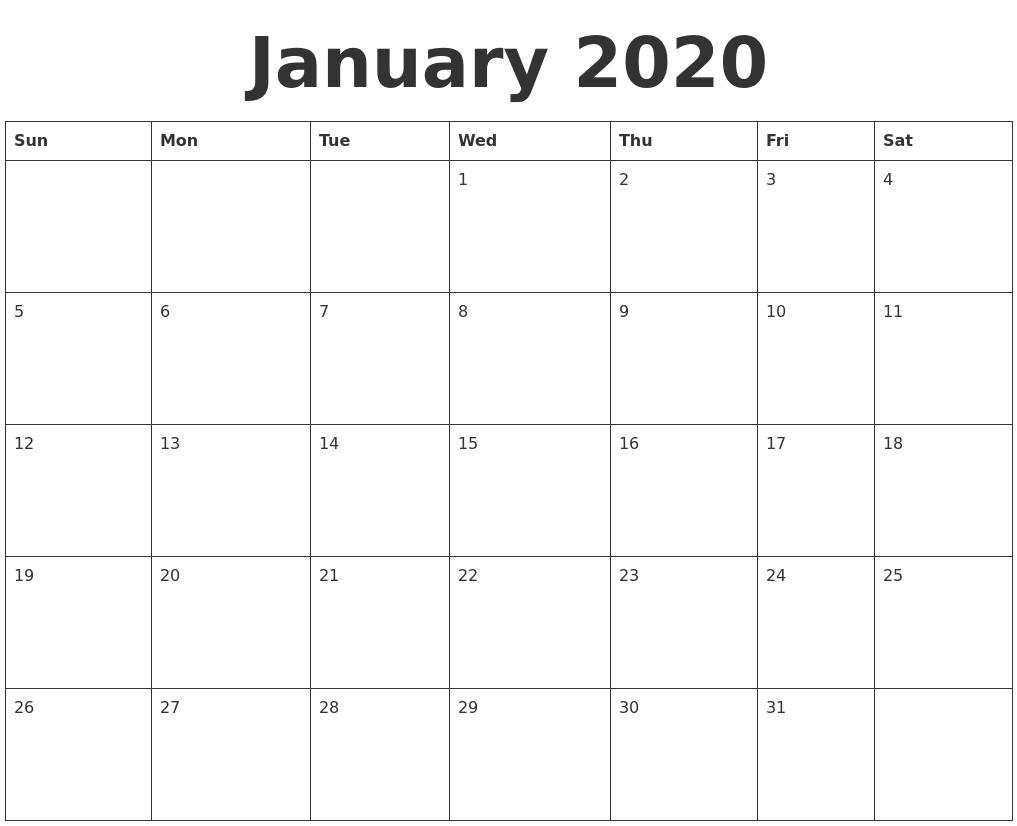 January 2020 Blank Calendar Template  Fill In Calendar Template 2020