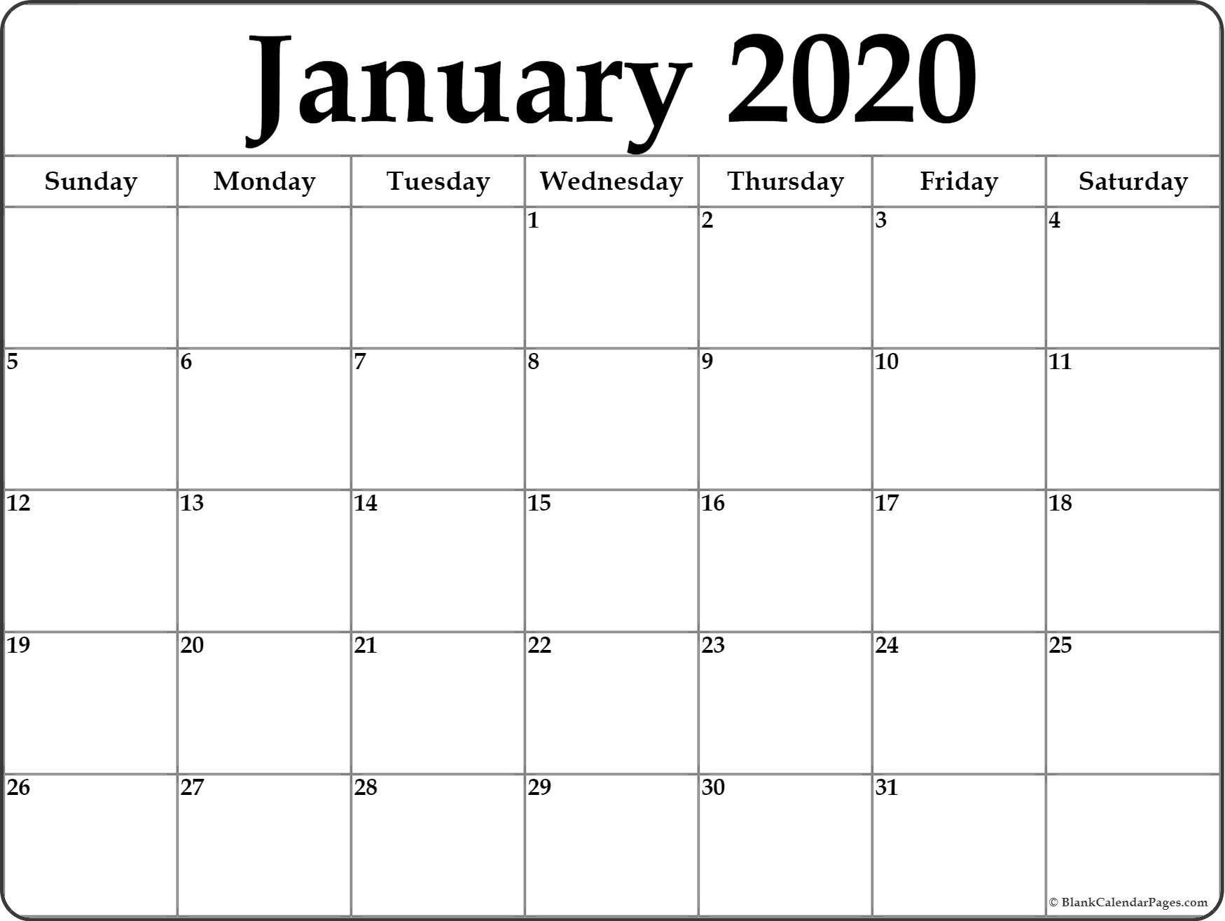January 2020 Calendar | Free Printable Monthly Calendars  Full Page Blank Calendar Printable 2020