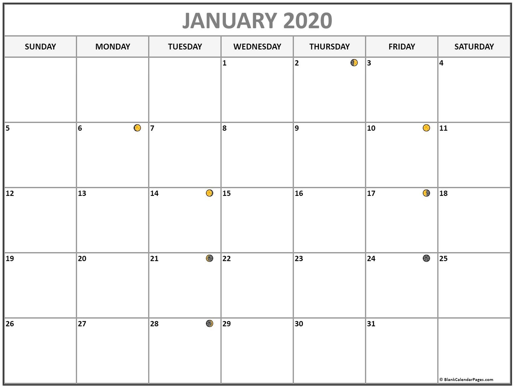 January 2020 Lunar Calendar | Moon Phase Calendar  Lunar And Solar Calendar 2020