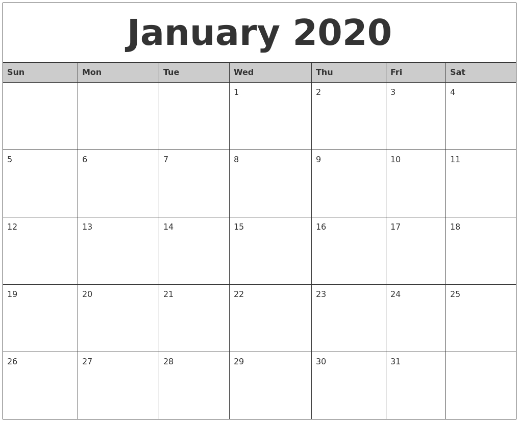 January 2020 Monthly Calendar Printable  Full Page Monthly Calendar Printable 2020