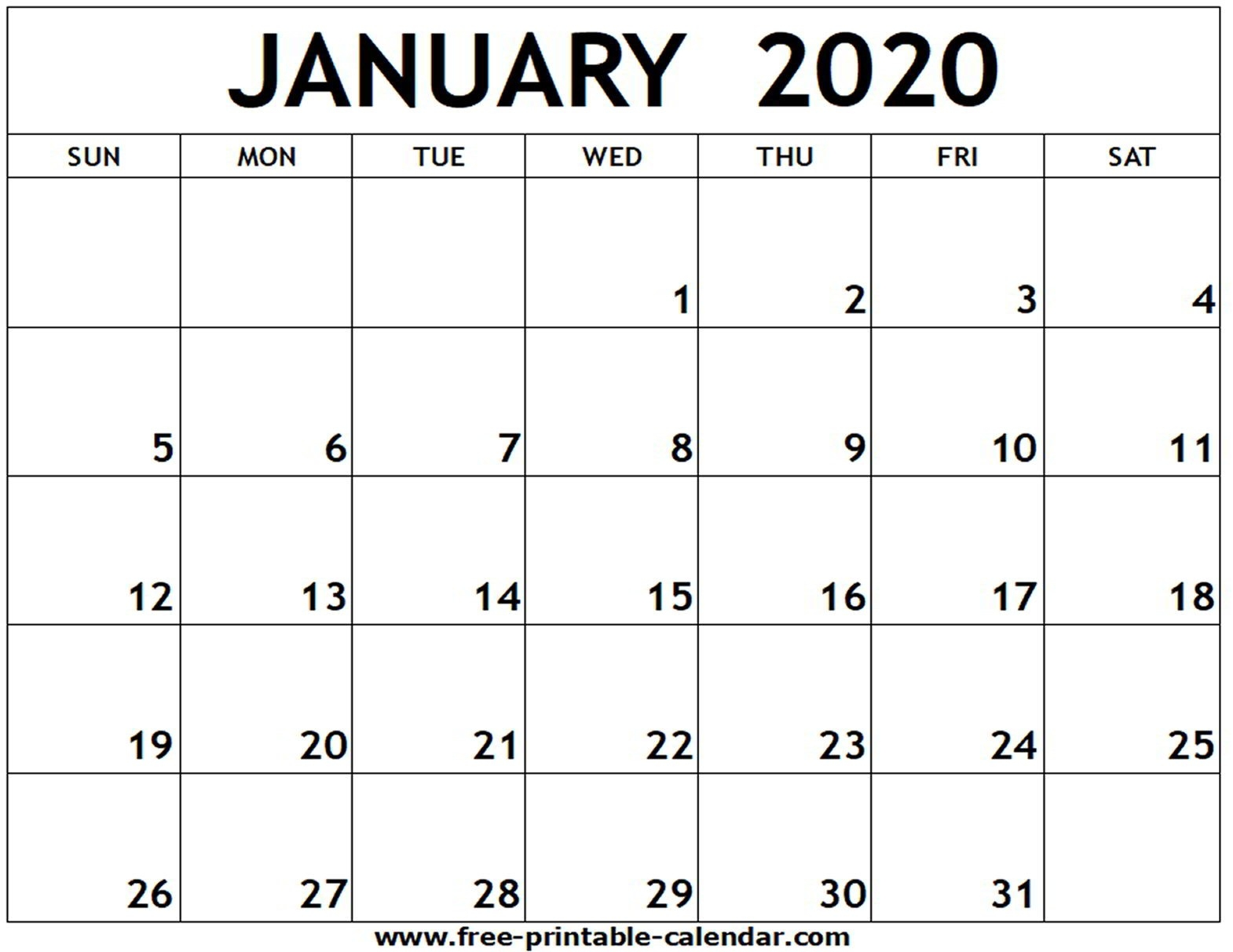 January 2020 Printable Calendar - Free-Printable-Calendar  Fill In Calendar 2020 Printable