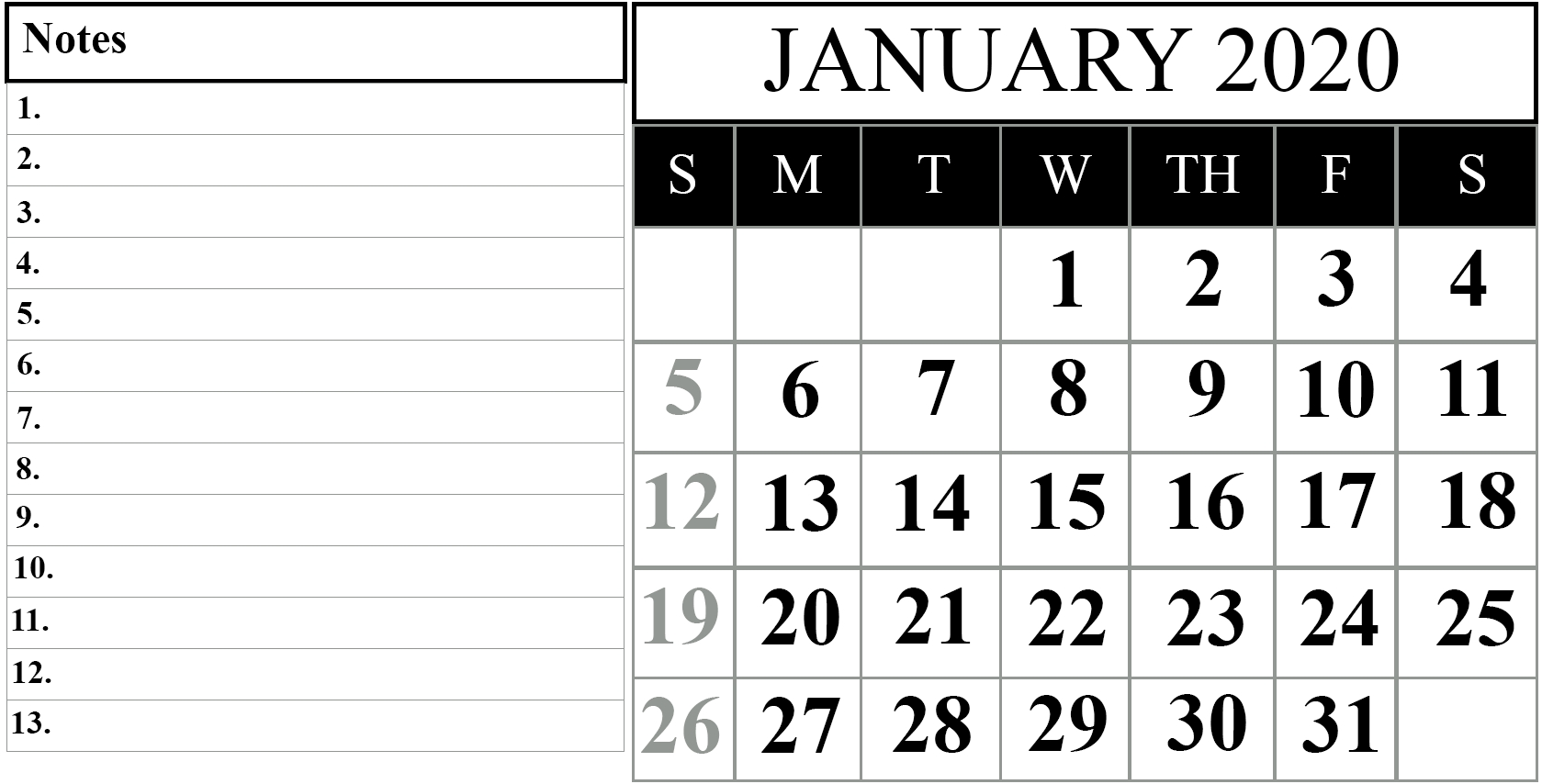 January 2020 Printable Calendar Template #2020Calendars  Blank Calendar Fill In 2020 Printable
