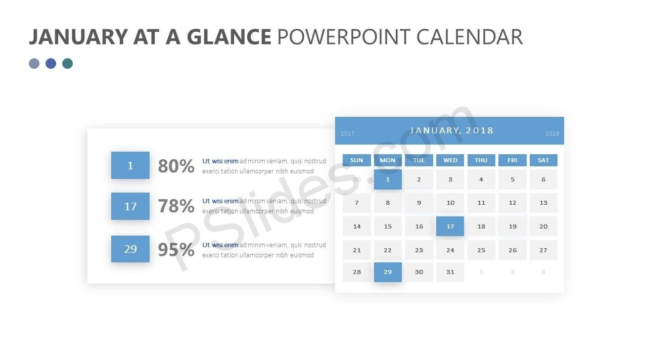 January At A Glance Powerpoint Calendar - Pslides  Calendar At A Glance Template Powerpoint