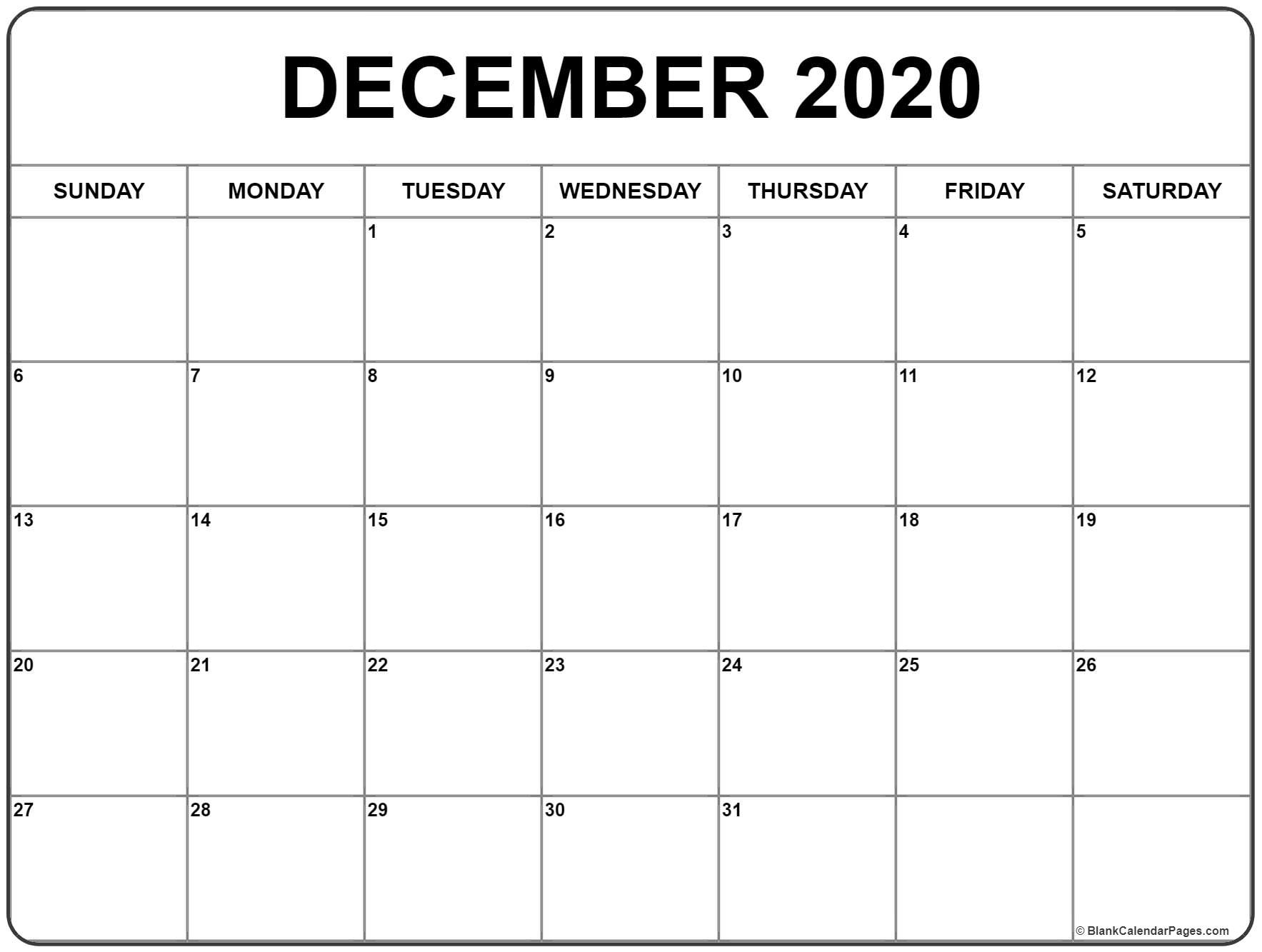 January Thru December 2020 Printable Monthly Calendar  August-December 2020 Calendar