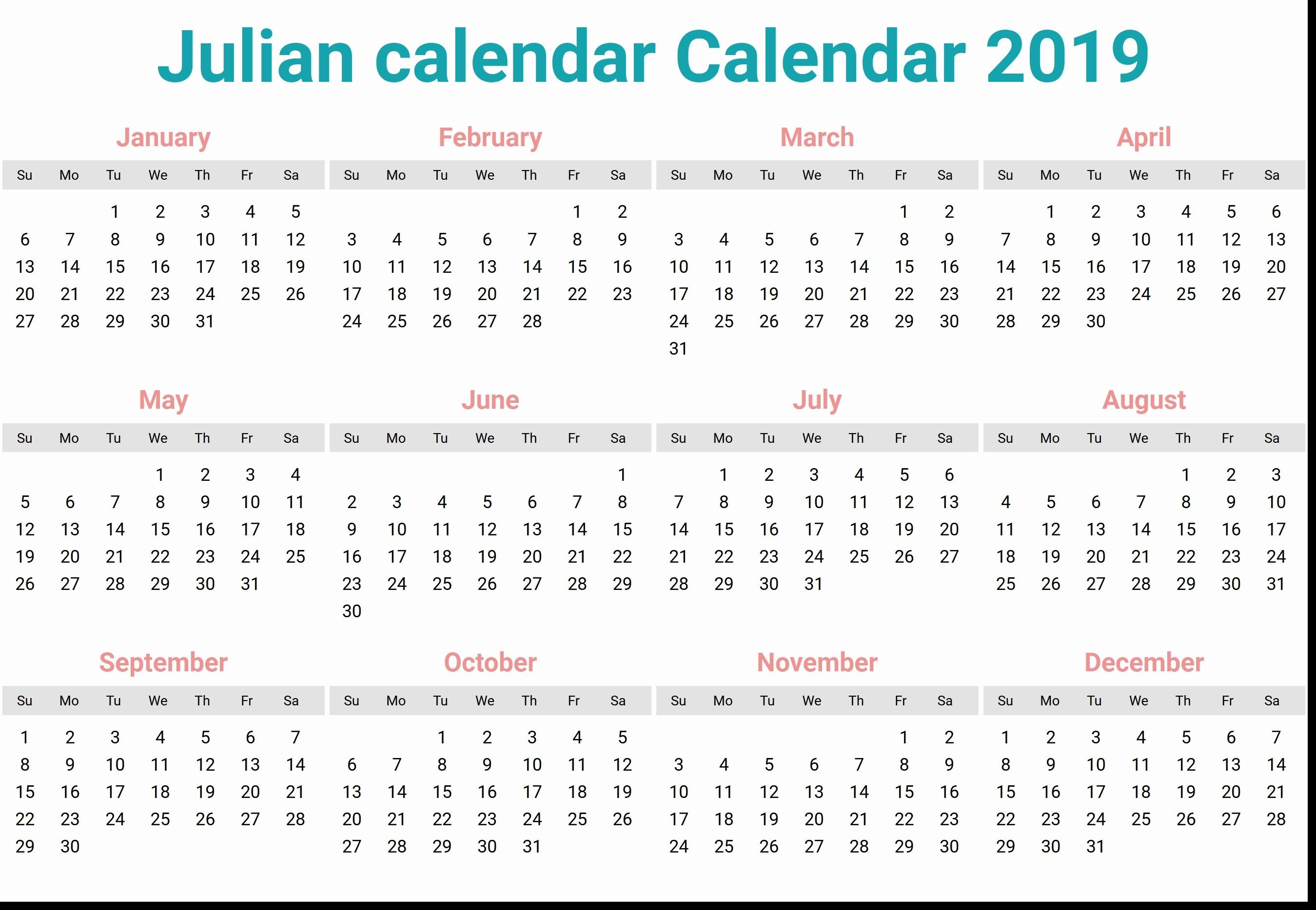 Julian Date Calendar 10 2699X1868 - Bi-Brucker-Holz.de  Military Julian Calendar 2020