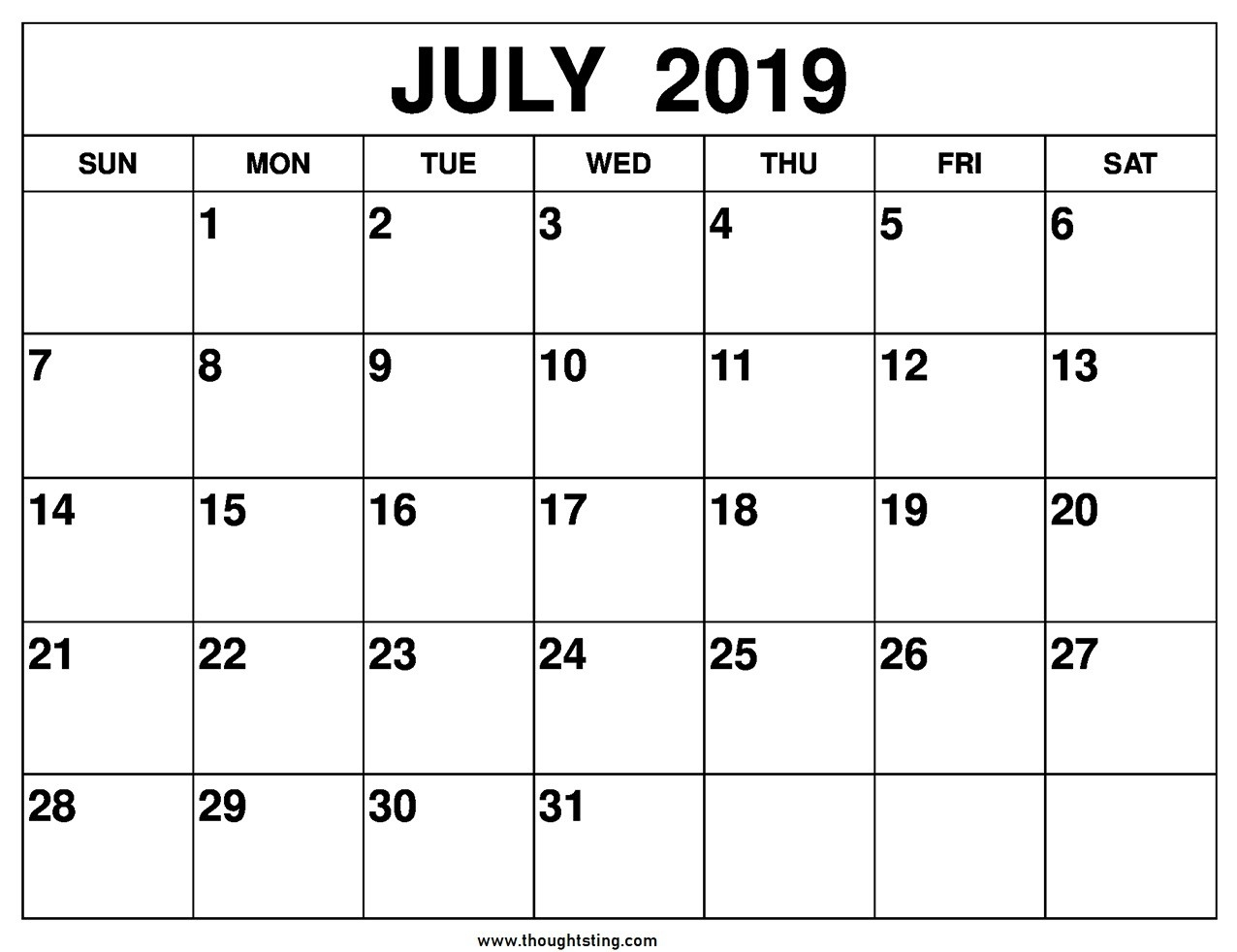 July 2019 Calendar Printable One Page Template - Free  Full Page Calender