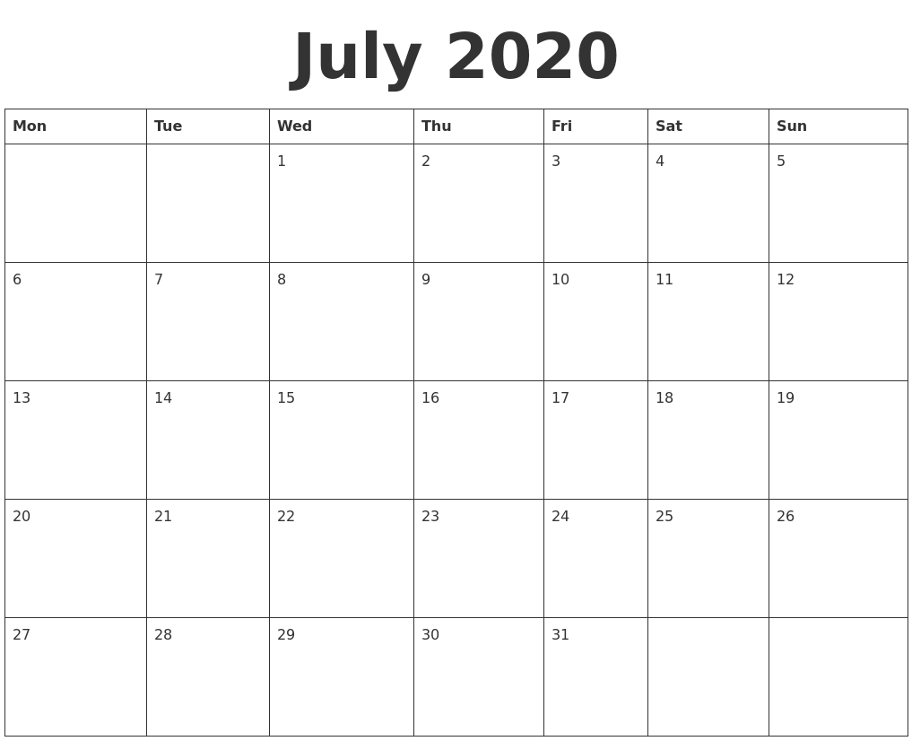 July 2020 Blank Calendar Template  Blank Calendar Fill In 2020 Printable