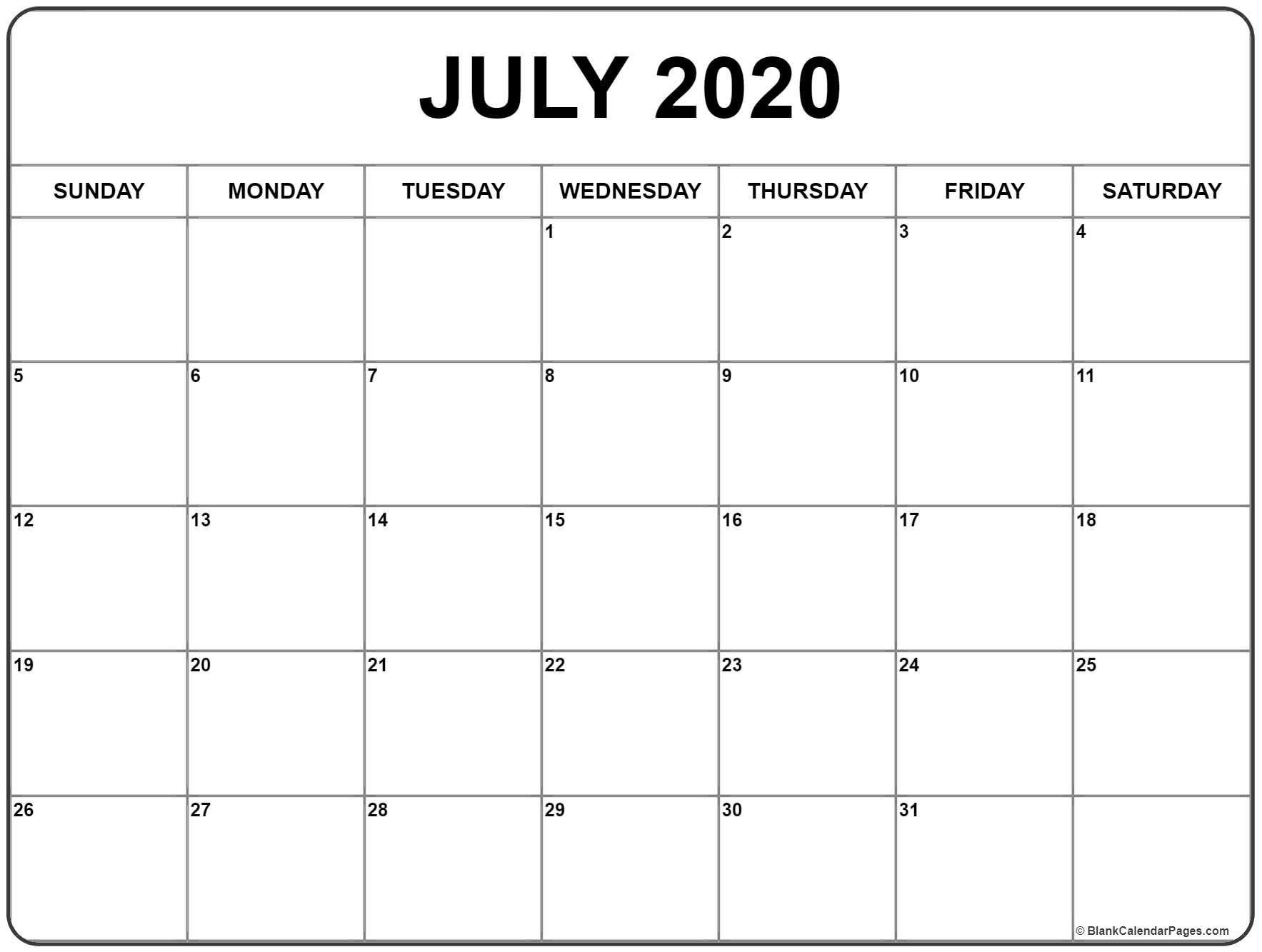 July 2020 Calendar | Printable Calendars | Blank Monthly  Free 2020 Advent Calendar Printable