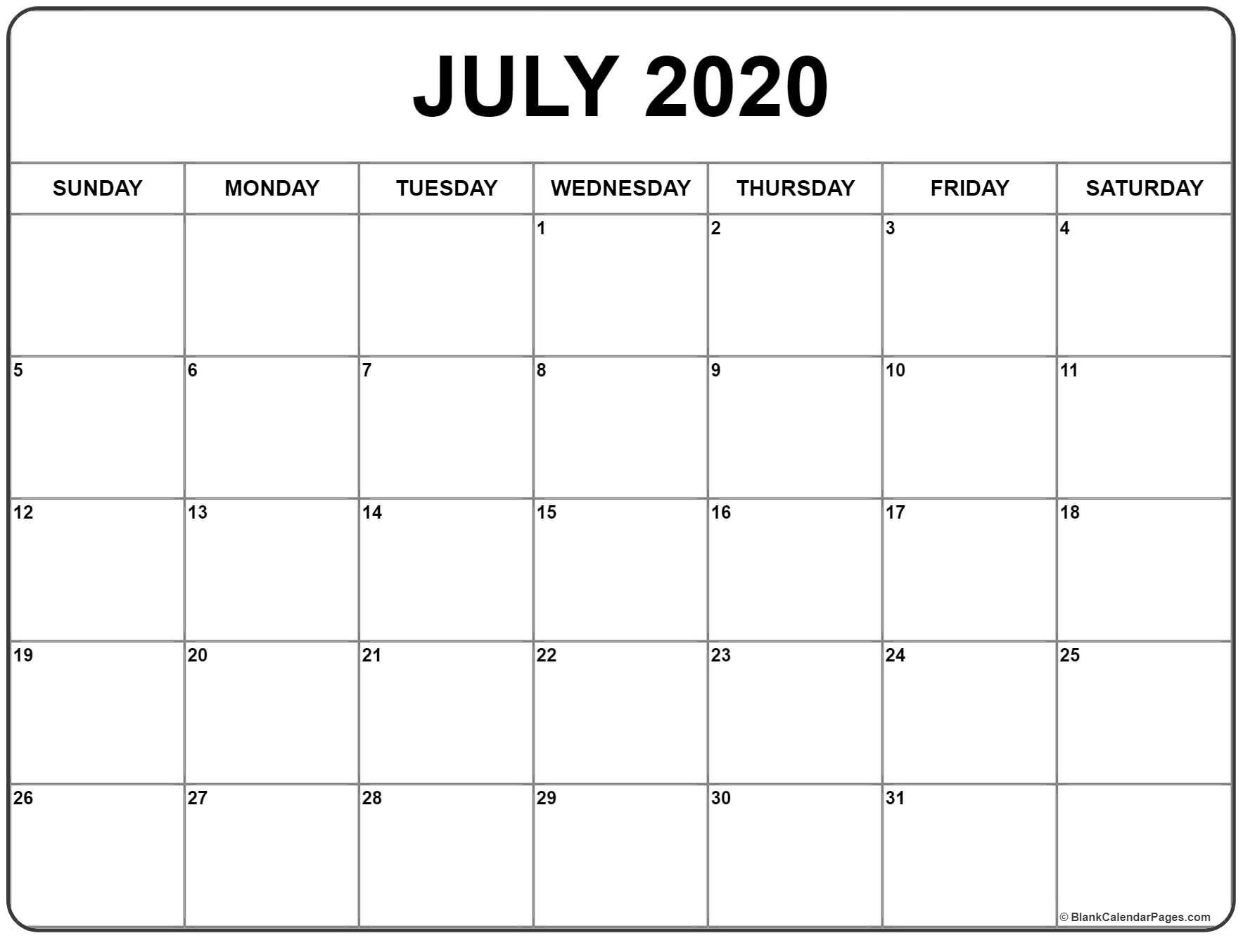 July 2020 Calendar | Printable Calendars | Blank Monthly  Full Size September 2020 Calendar Printable