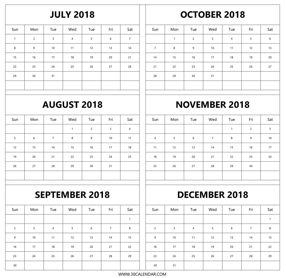 July Aug Sep Oct Nov Dec 2018 Calendar | 6 Months 2018 Template  August To December Calendar