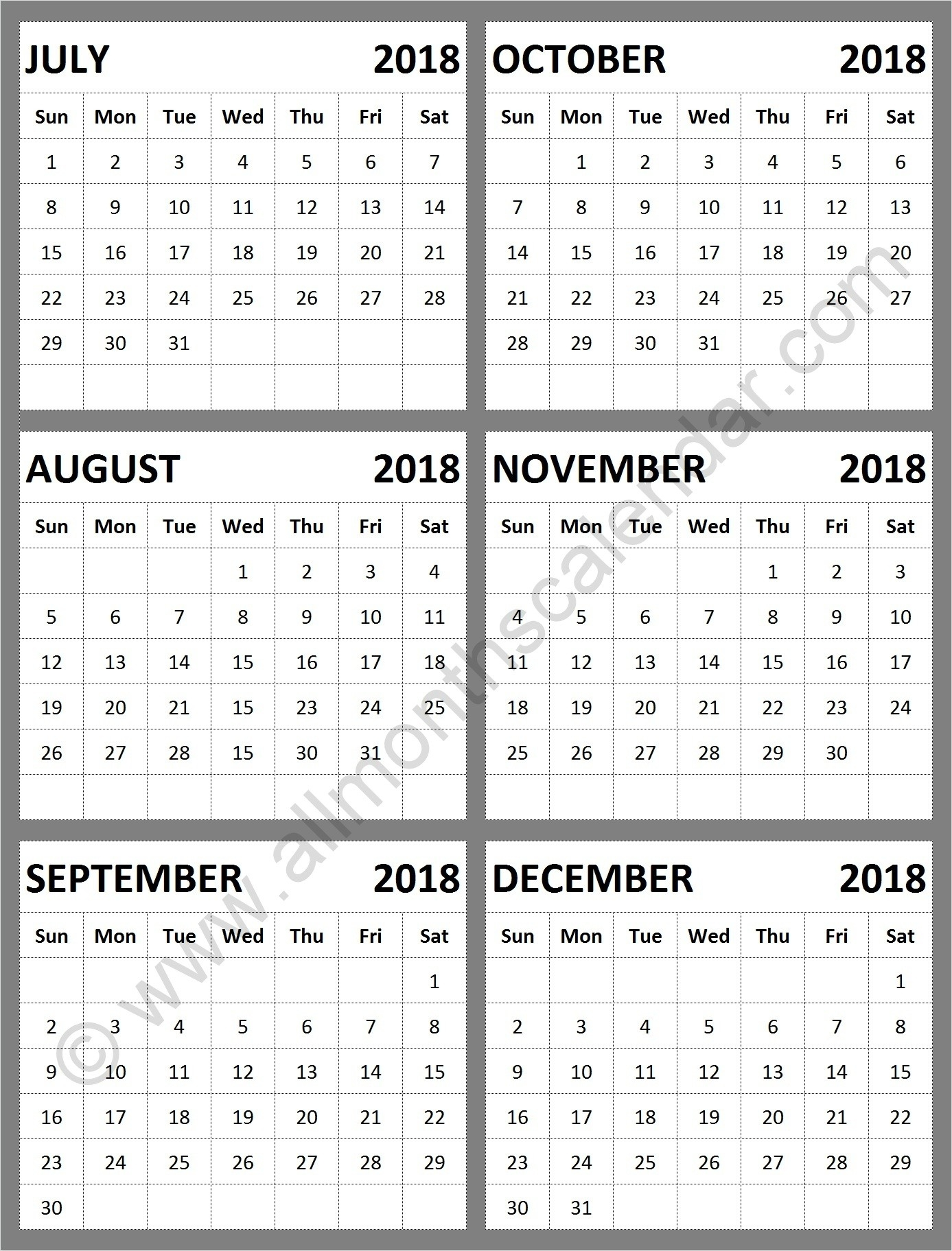 July August September October November December 2018  August To December Calendar