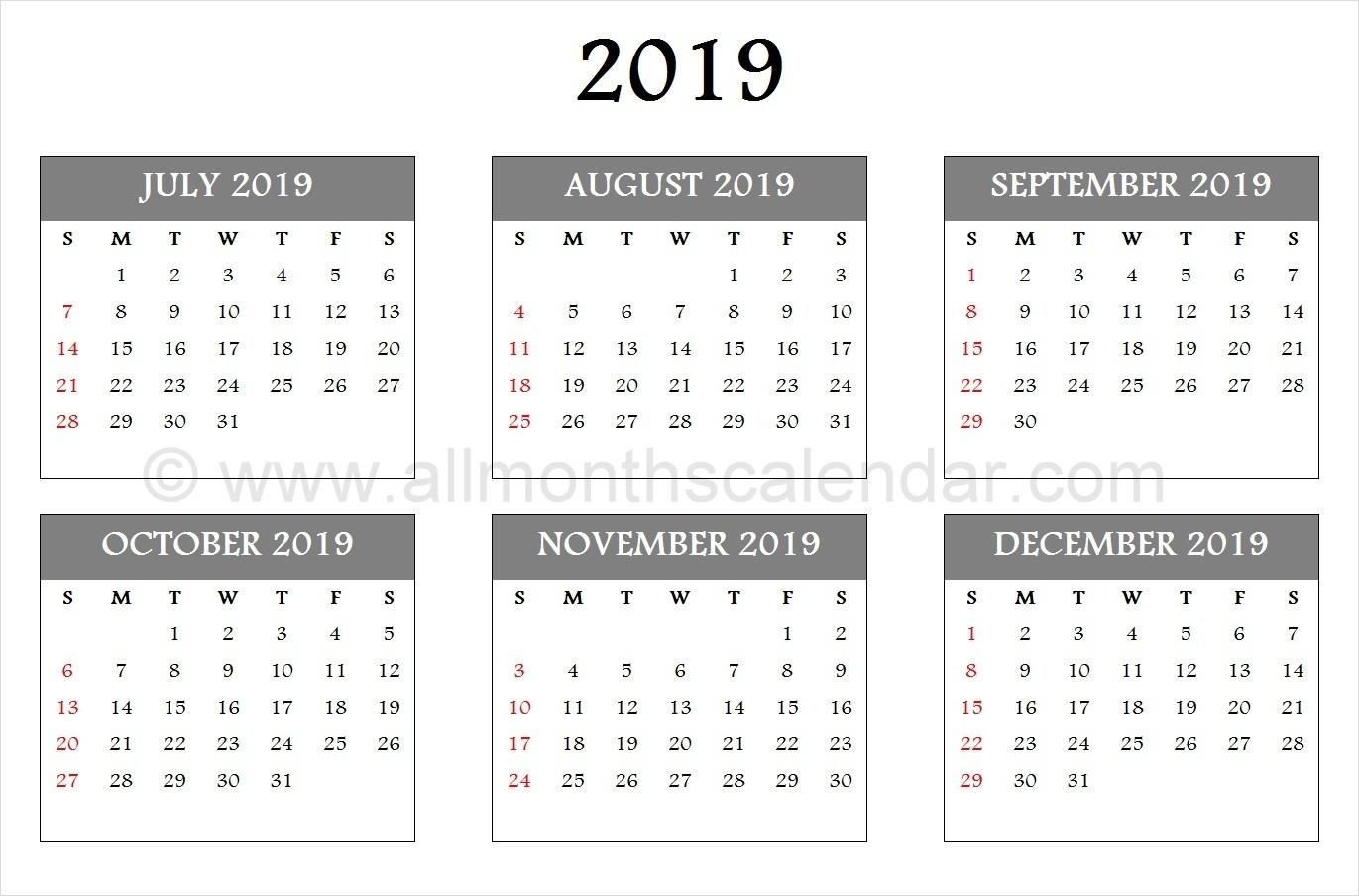 July August September October November December 2019  August - December