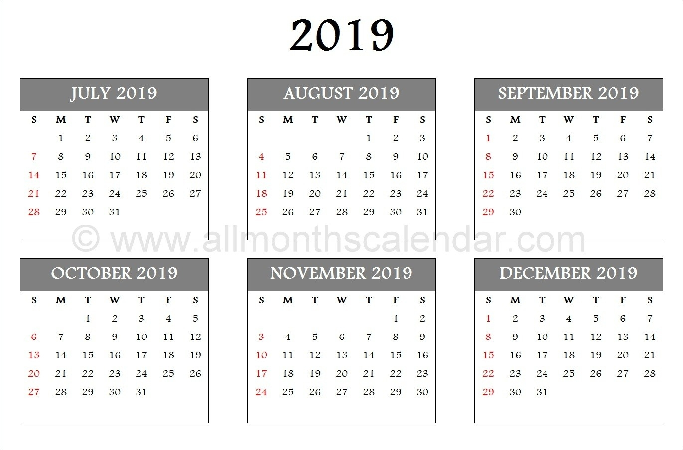 July August September October November December 2019  August To December Calendar