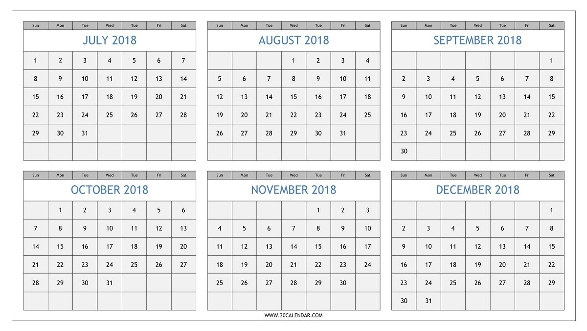 July To December 2018 Calendar Printable | Half Yearly 2018  August To December Calendar