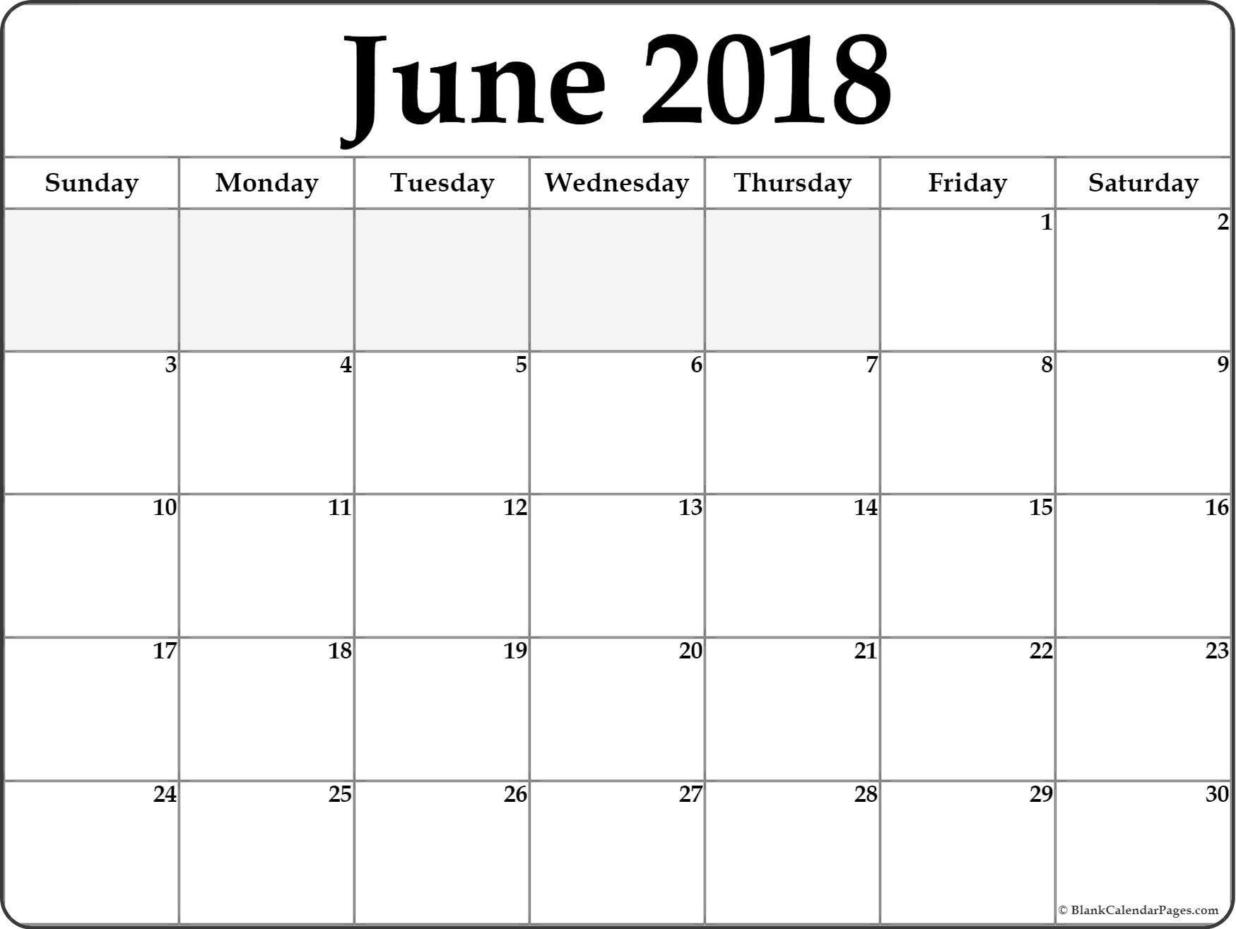 June 2018 Calendar . June 2018 Calendar Printable #june  Blank Full Page Calendar Printable June