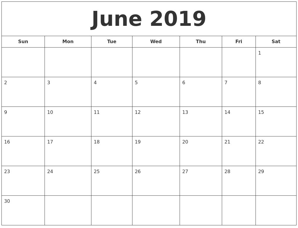 June 2019 Blank Calendar Landscape And Vertical Layout  Blank Full Page Calendar Printable June