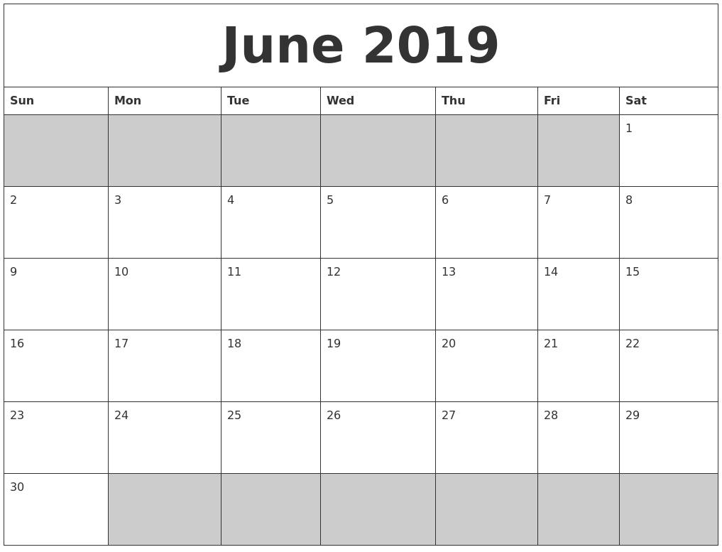 June 2019 Blank Printable Calendar  Blank Full Page Calendar Printable June