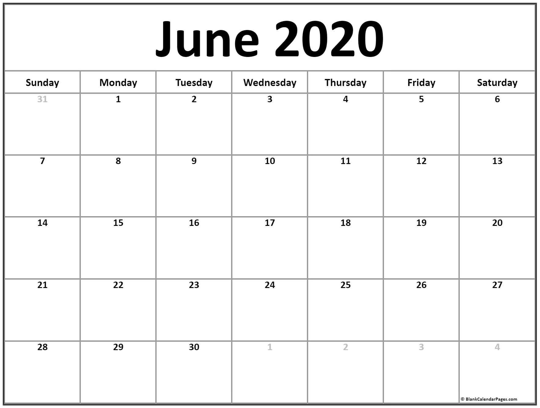 June 2020 Calendar | Free Printable Monthly Calendars  Calendar To Write On 2020