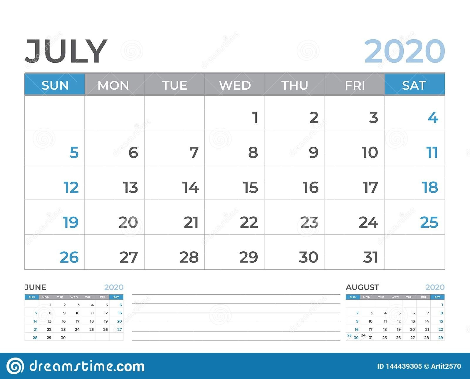 June 2020 Calendar Template, Desk Calendar Layout Size 8 X 6  Full Size Calendar 2020