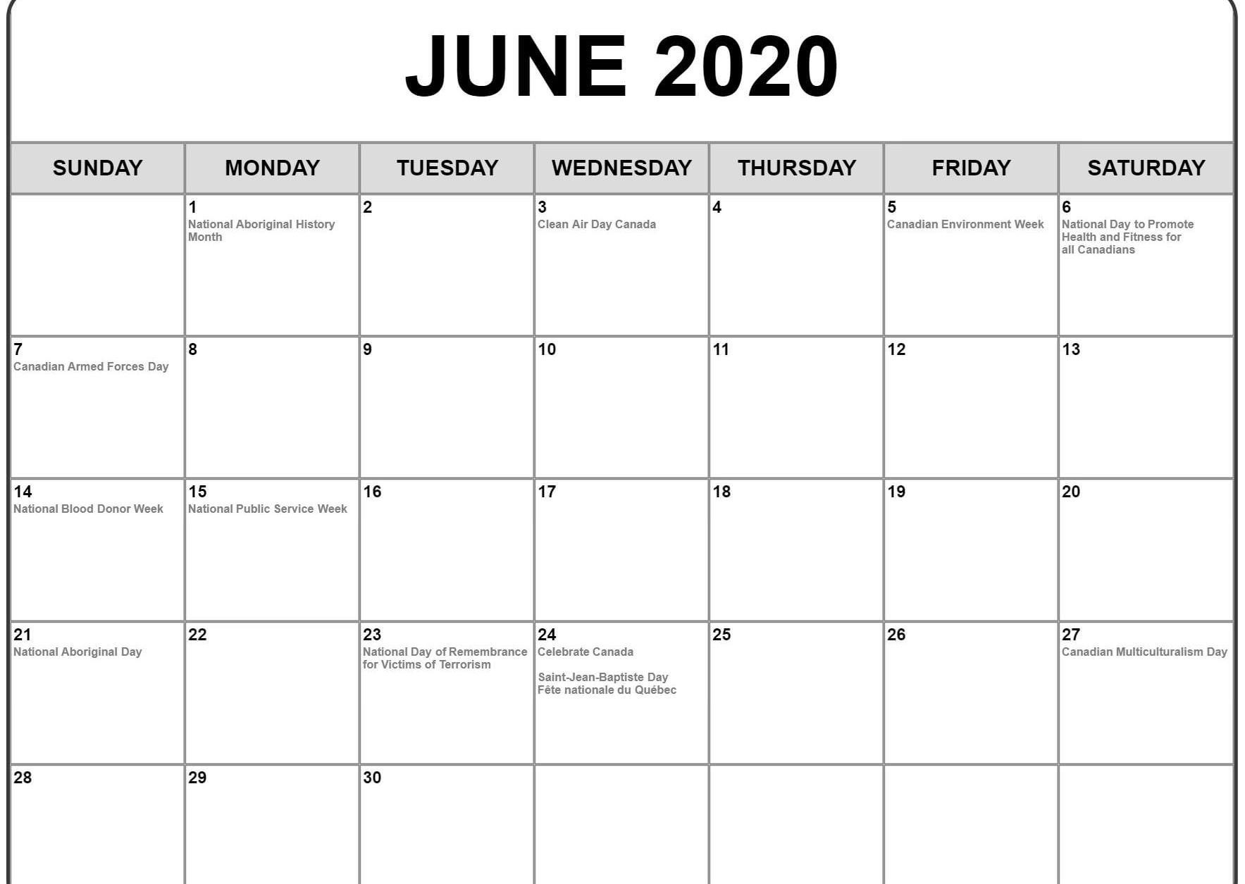 June 2020 Calendar With Holidays | Awesome Free Printable  National Day Calendar June 2020