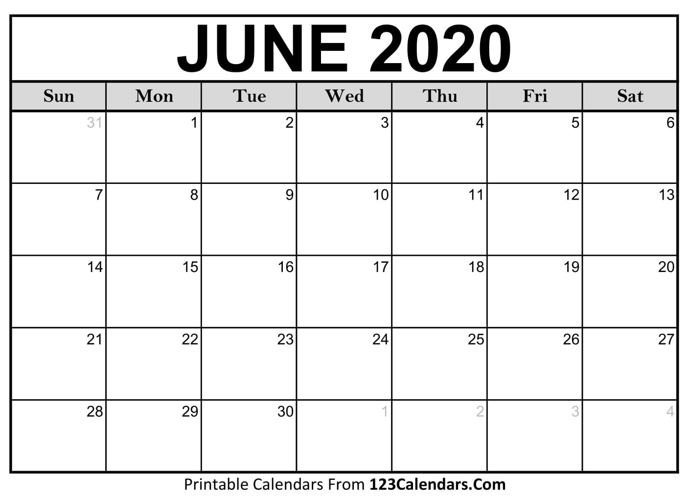 June 2020 Printable Calendar | 123Calendars  National Day Calendar June 2020