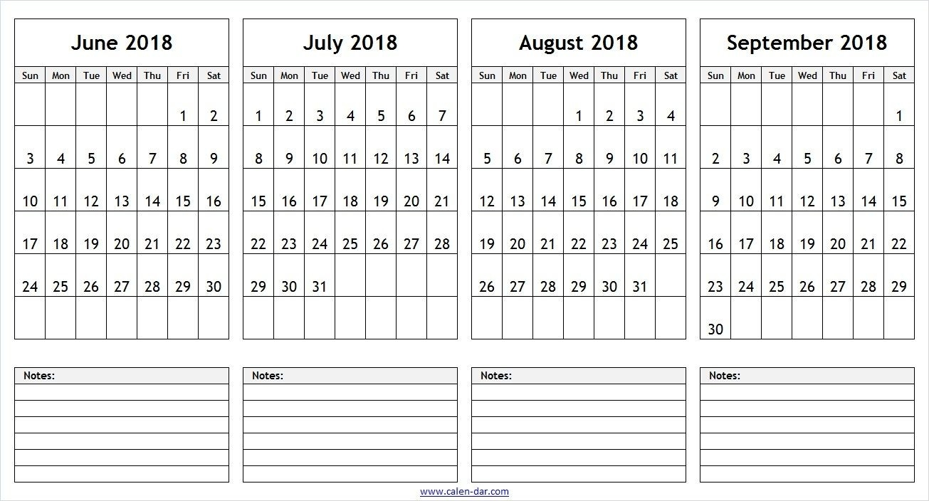 June July August September 2018 Calendar With Notes | 2018  August To December Calendar