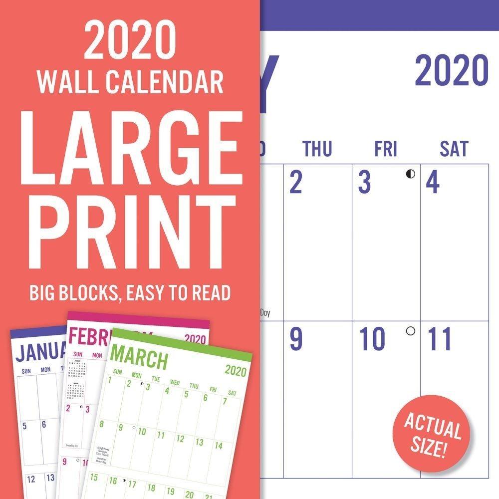Large Print 2020 Wall Calendar  Print Full Page Calendar 2020