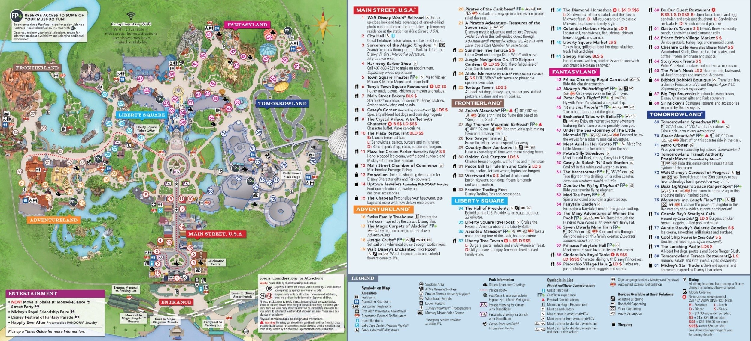 Magic Kingdom Park Map - Walt Disney World  Disney World Attractions Printable List 2020