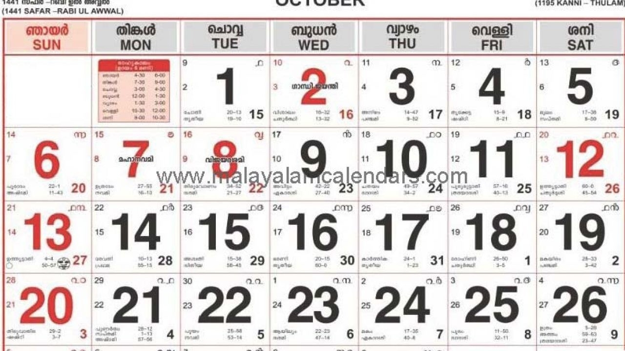 Malayalam Calendar October 2019 – Malayalamcalendars  Malayala Manorama Calendar 2020 Pdf
