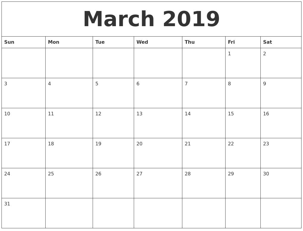 March 2019 Calendar Printable - Free Templates - Printable  Monthly Calendar Printable Full Page
