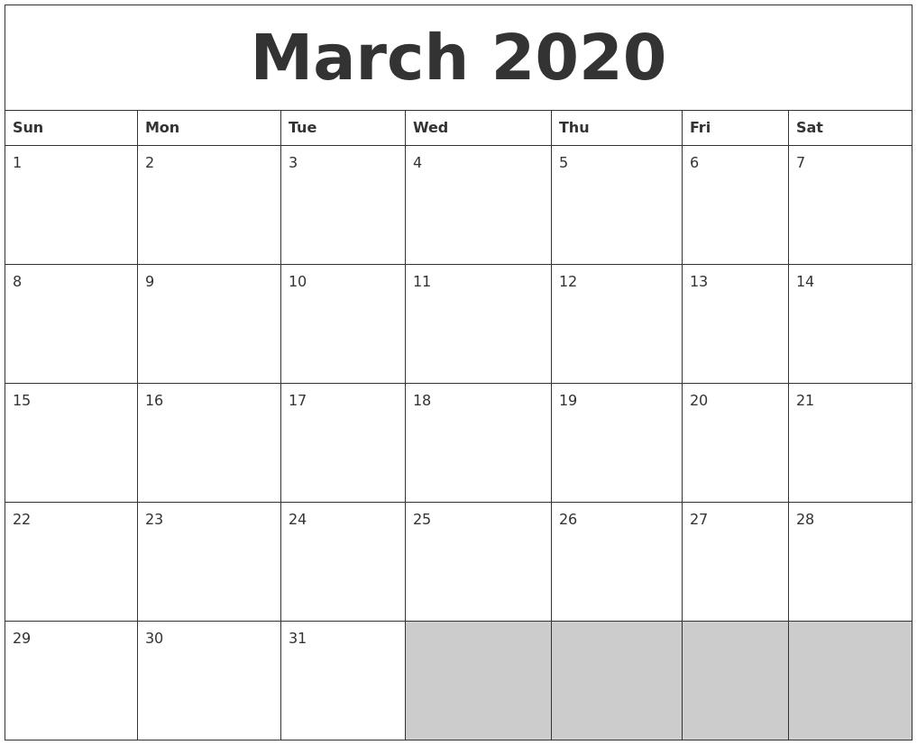 March 2020 Blank Printable Calendar  Full Page Blank Calendar Printable 2020