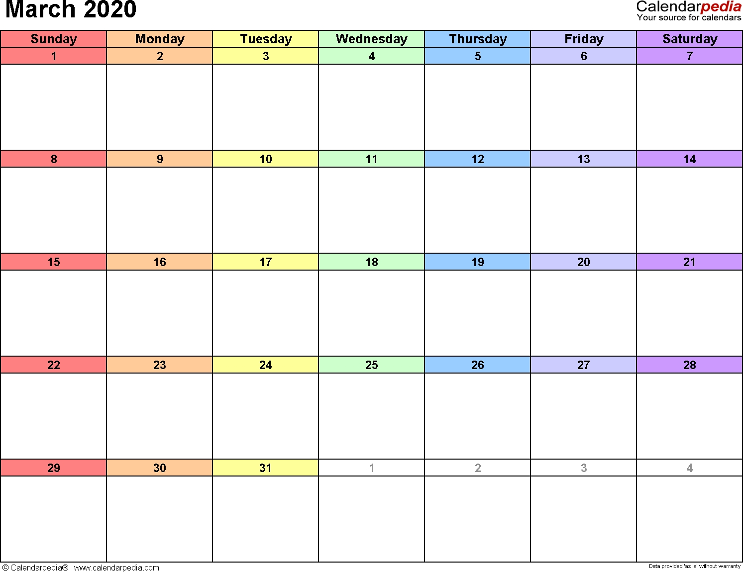 March 2020 Calendars For Word, Excel & Pdf  2020 Attendane Tracking Calendar