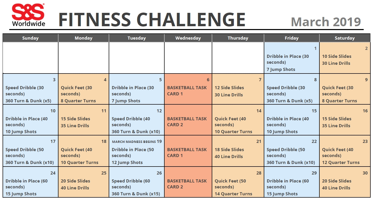 March Printable Fitness Challenge Calendar - S&s Blog  30 Day Fitness Challenge Printable