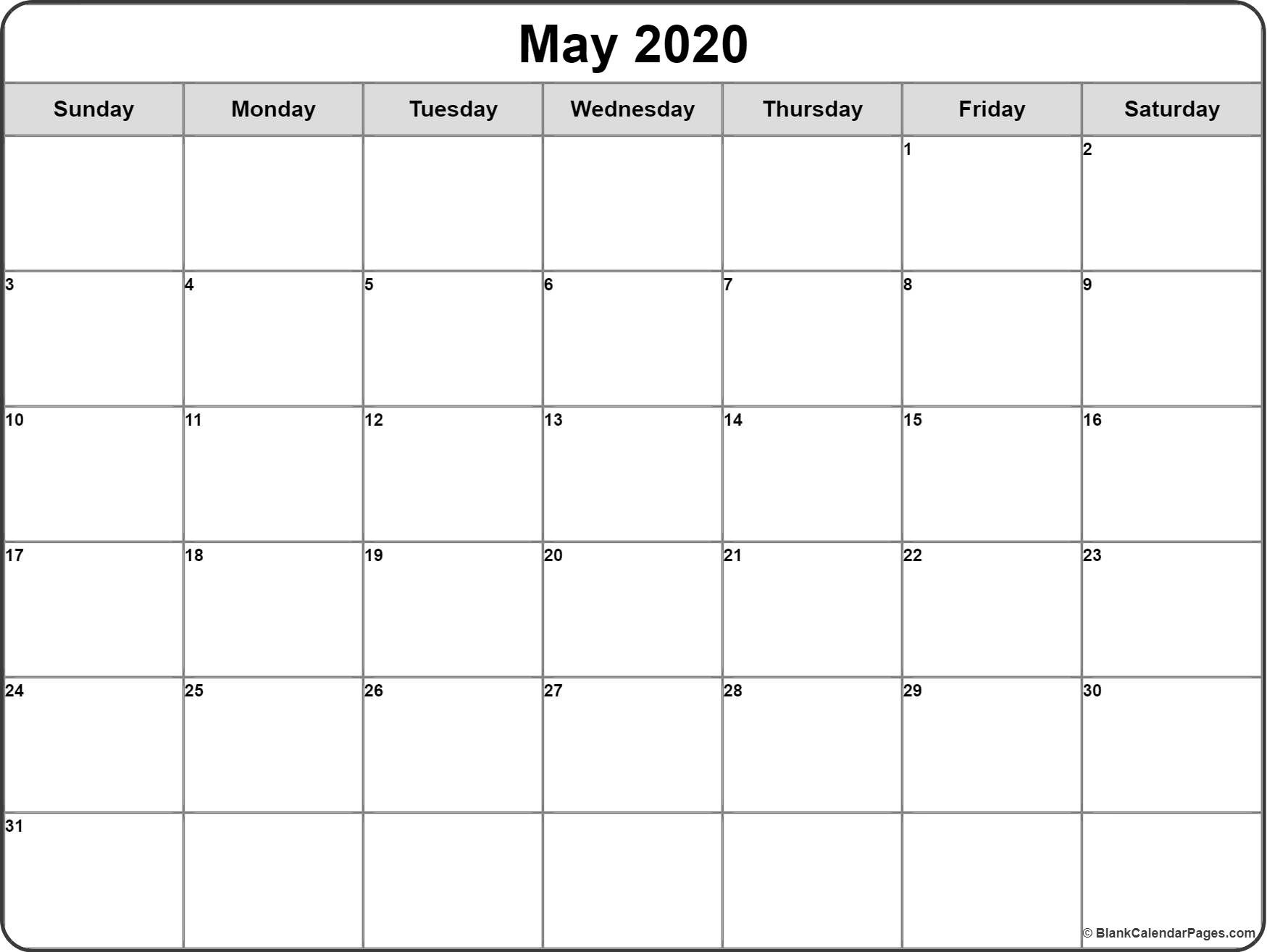 May 2020 Calendar | Free Printable Monthly Calendars  Printable 2020 Full Page Monthly Calendar