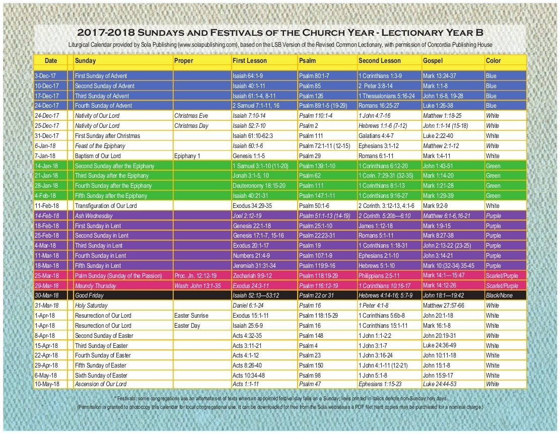 Methodist Lectionary Calendar 2017 To Download Or Print  Methodist Liturgical Year