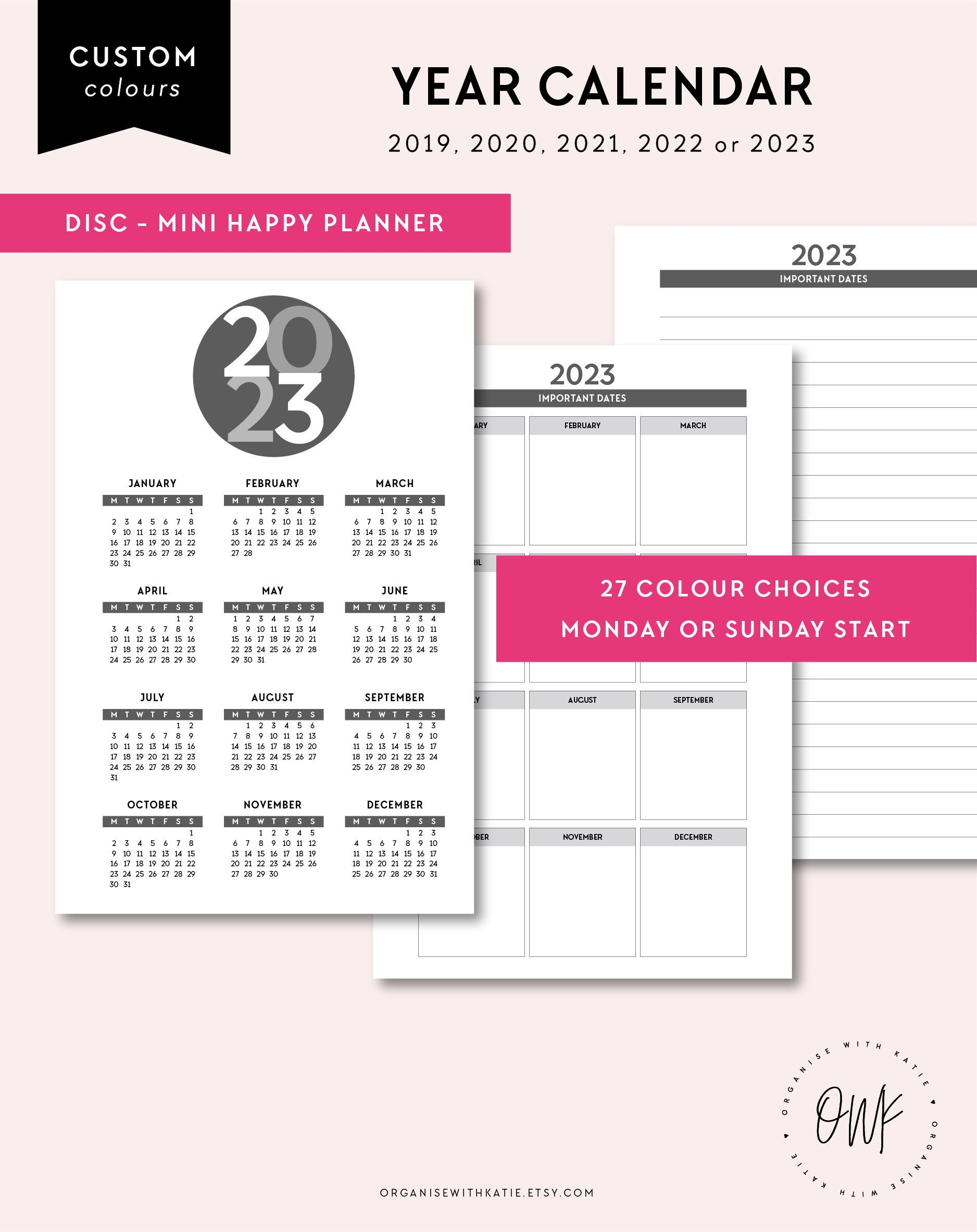 Mini Happy Planner 2019, 2020, 2021, 2022, 2023 Year Overview, Important  Dates, Year On 1 Page, Yearly Calendar, Monday Sunday Start  Ber 2020 Full Page Calendar