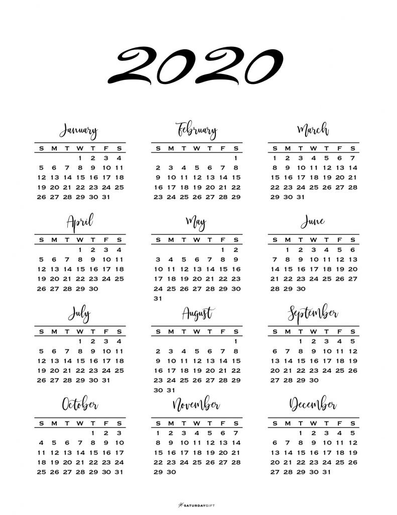 Minimal One Page Calendar For 2019 & 2020 {Free Printables}  Full Page Calendar 2020