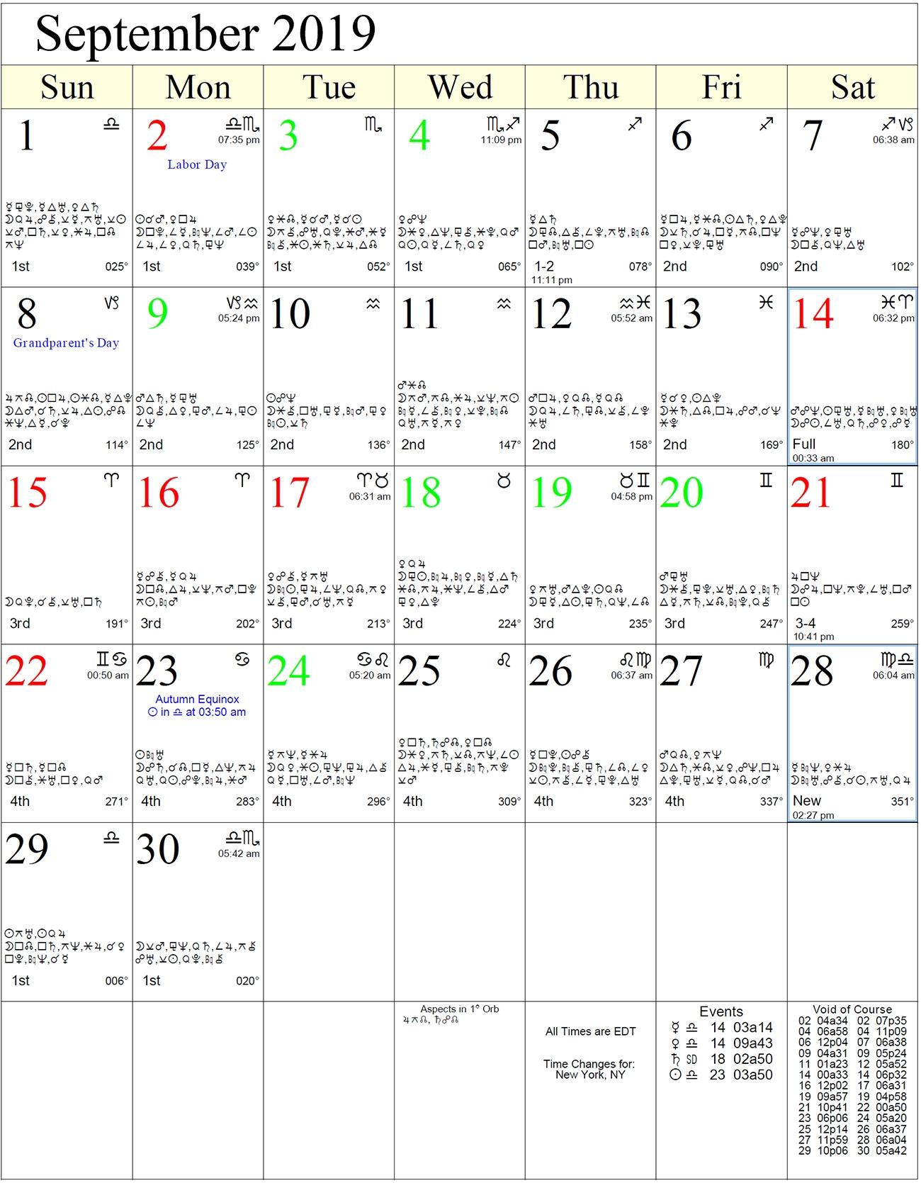 Monthly Astrology Calendars  Lunar Calendar And Solar Calendar