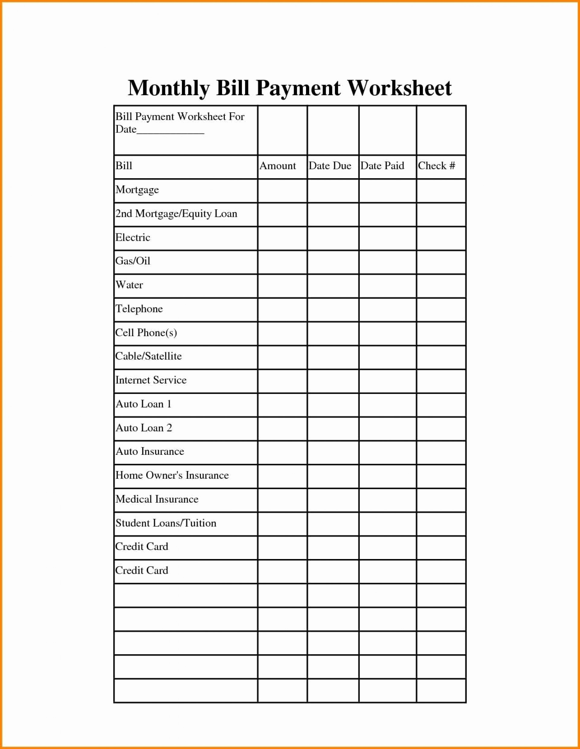 Monthly Bill Pay Spreadsheet Free Payment Worksheet Template  Fillable Monthly Bill Payment Worksheet