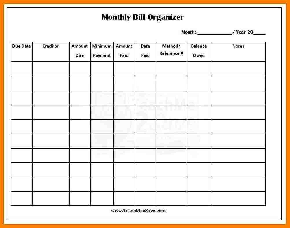 Monthly Bill Template Free Report Templates Budget Excel  Free Printable Monthly Payment Sheet