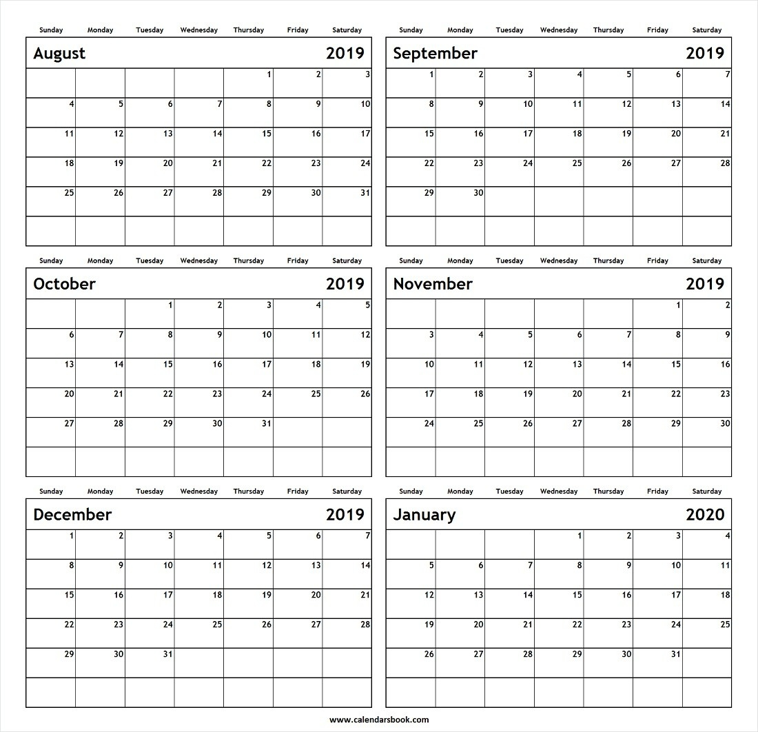 Monthly Calendar Aug Sep Oct Nov Dec 2019 Jan 2020 Printable  Calendar August To December 2020