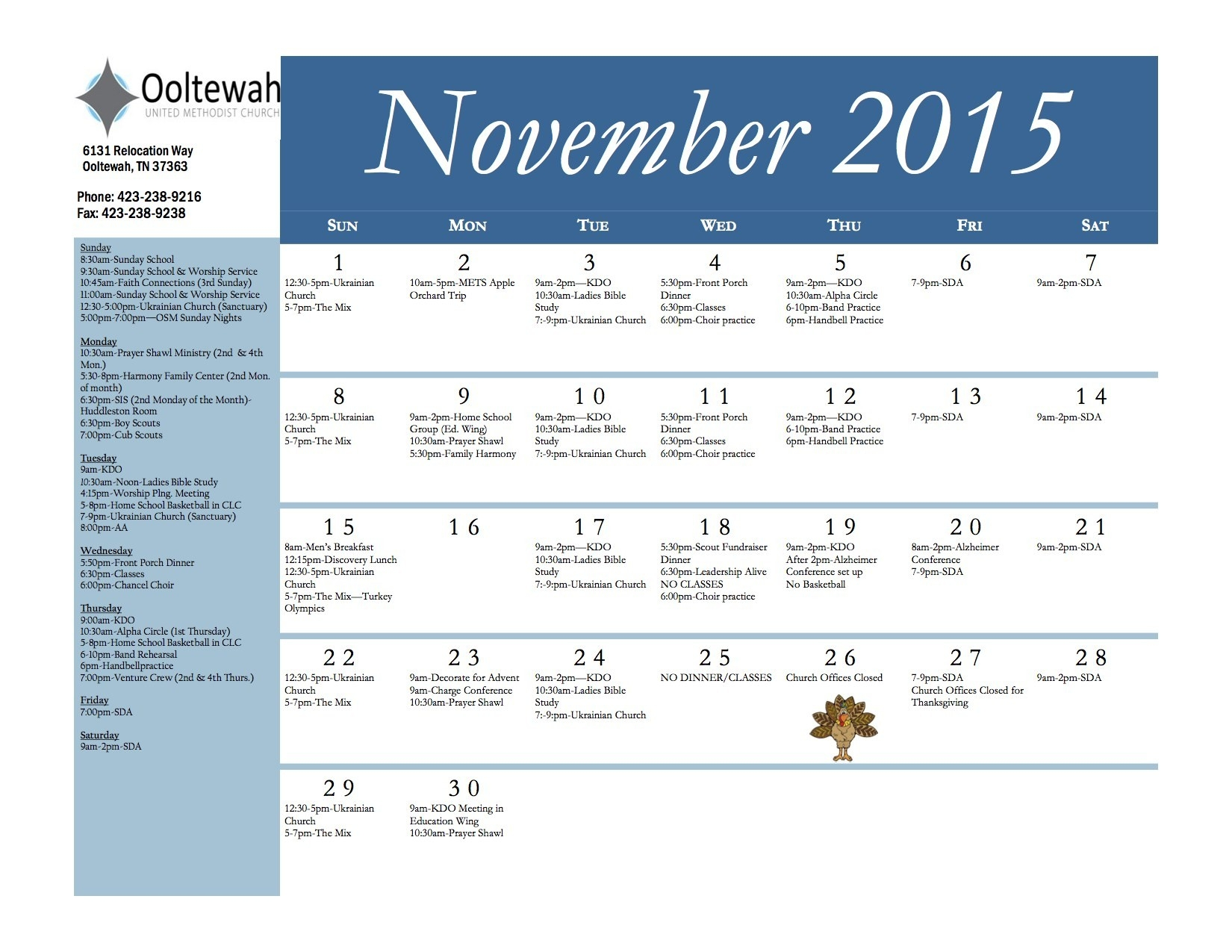 Monthly Calendar - Ooltewah United Methodist Church  2020 Methodist Church Calendar