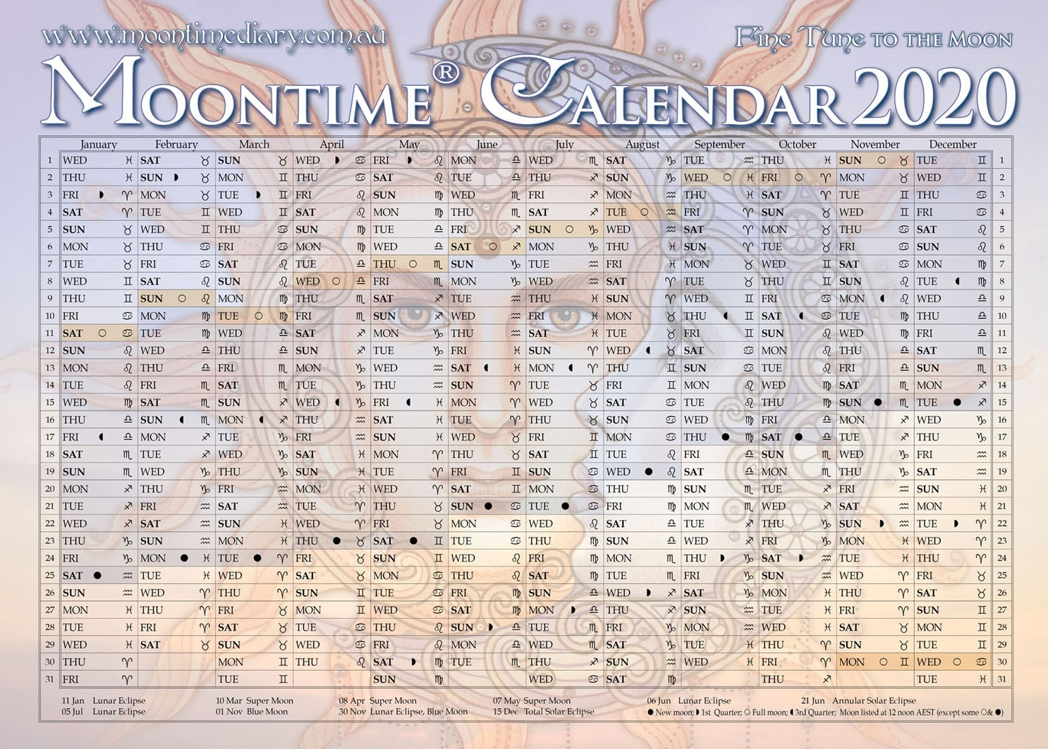 Moontime Calendar 2020  Solar Lunar Calendar - 2020