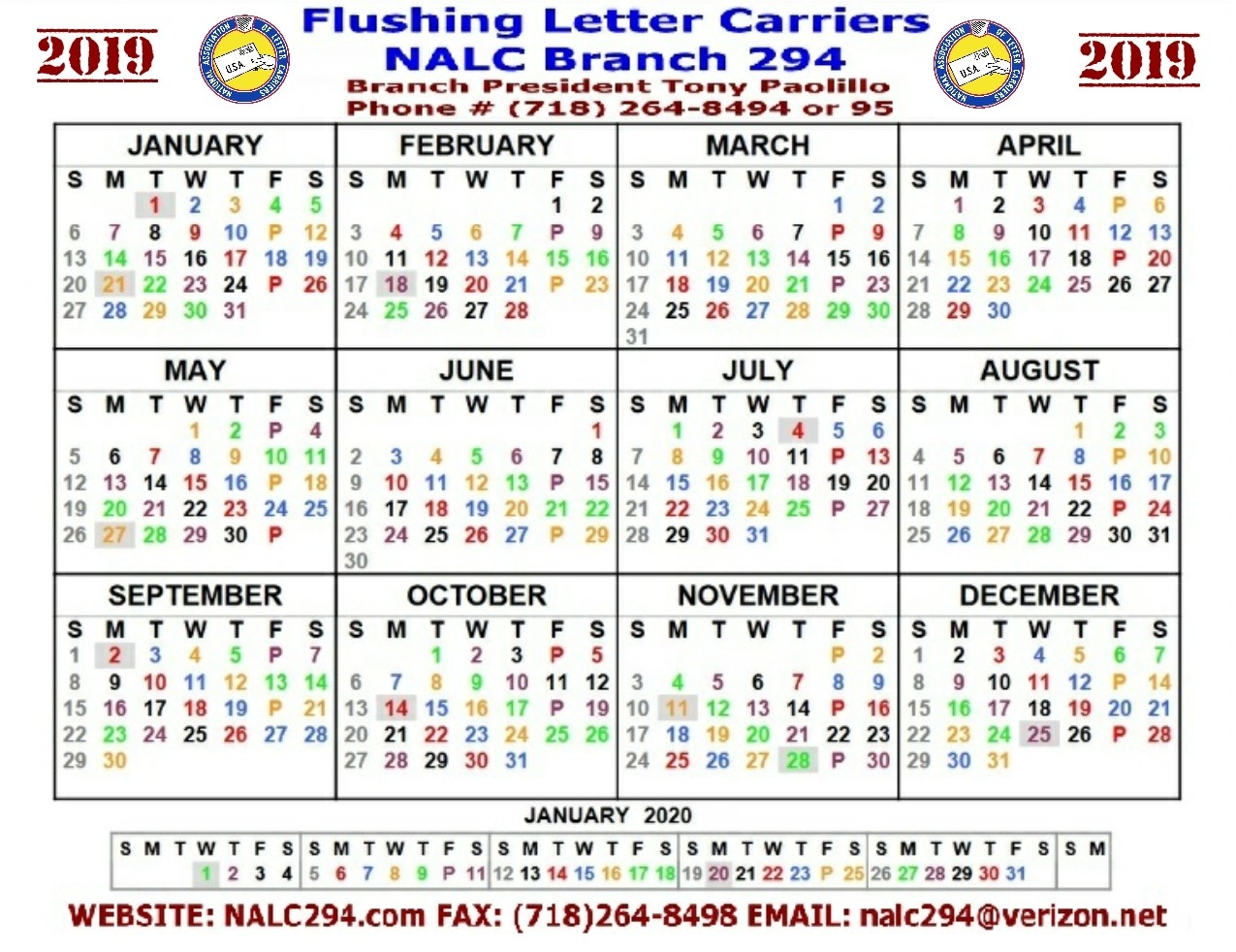 Nalc Br. 294 Flushing Letter Carriers  2020 Postal Pay Period Calendar