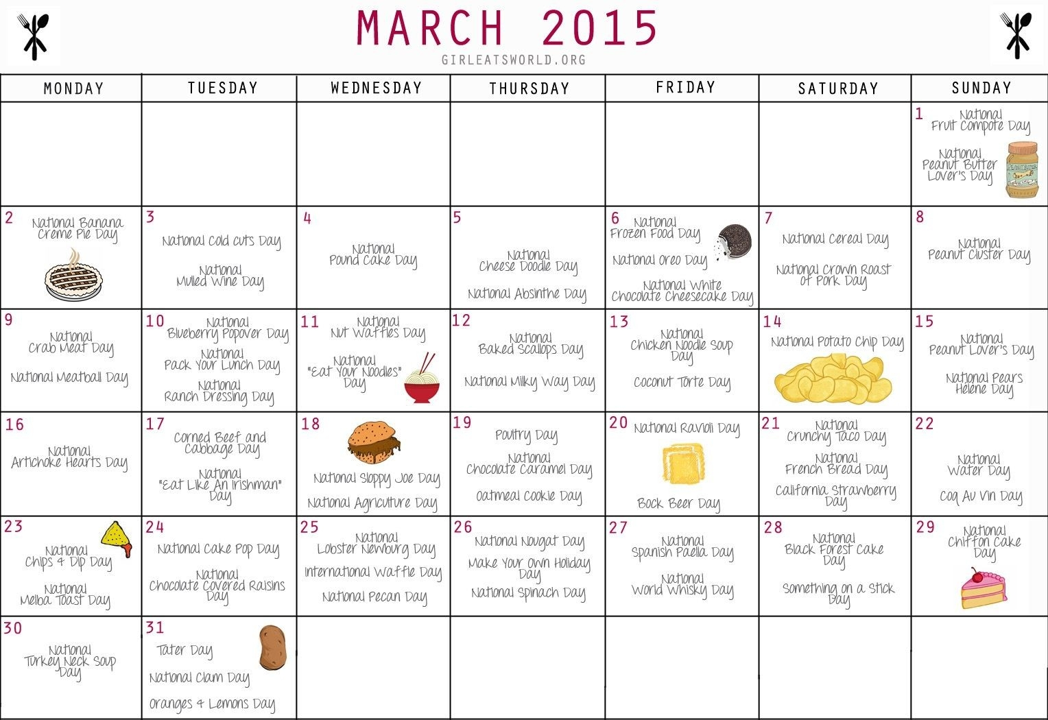 National Food Day Calendar Printable Printable Calendar 2018  National Food Days 2020 Printable